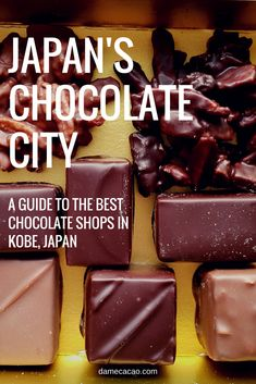 Kobe Chocolate Guide: Best Chocolate in Japan? (Map Included) Kobe is known throughout Japan for its stupendous chocolate (and beef), and now you can find it, too! Enjoy this complete guide to Kobe, Japan. Chocolate City, Chocolate Shop, Best Chocolate, Healthy Chocolate, Kyoto, Samana, Chocolates, Japan Travel Guide, Asia Travel