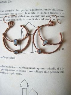 Gypsy earrings in copper with rainbow moonstones  bohemian
