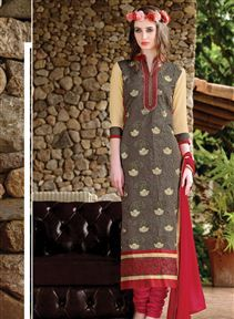 Designer Long Length Chanderi Silk Salwar Kameez