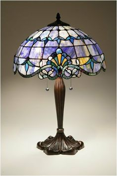 BLUE TIFFANY-STYLE VICTORIAN TABLE LAMP 16  - Click image twice for more info - See a larger selection of pull chain table lamps at http://tablelampgallery.com/product-category/pull-chain-table-lamps/ - home, home decor, lamp, lighting , gift ideas.