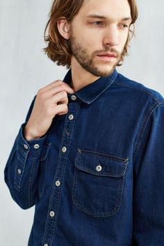 CPO Crepe Twill Denim Western Shirt - Urban Outfitters