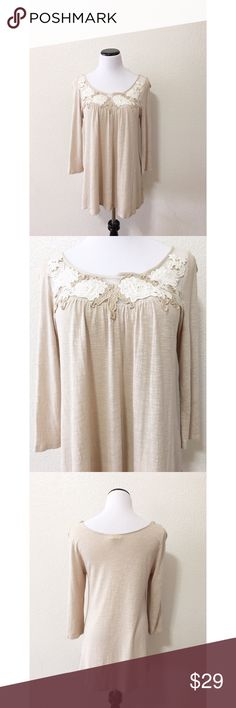 "Anthropologie meadow tie oatmeal top size large Brand: meadow rue from anthropologie  Size: L Chest flat: 19"" Length flat: 29"" Material: in photos  Condition: GUC Minor piling and normal wear. Zoom in pics.   ✔️⭐️⭐️⭐️⭐️⭐️ ✔️Shop with confidence, I'm a suggested user! ✔️Fast shipping! Anthropologie Tops Blouses"