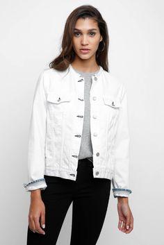 Rag & Bone Collarless White Denim Jacket | South Moon Under