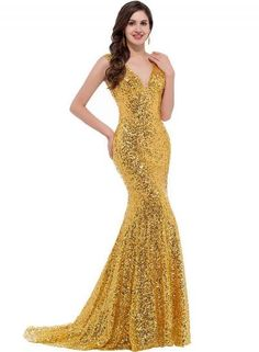 #Oasap.com - #Roawe Women's Elegant V Neck Sequin Merimaid Long Prom Dress - AdoreWe.com