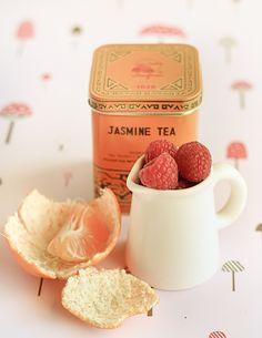Mandarin & Jasmine Tea Cup Jellies with Raspberries