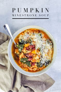 This pumpkin minestrone soup recipe is perfect for fall - it's hearty, healthy, and packed with flavor. It's a perfect soup to make on the weekend and eat over several meals during the week. Vegetarian Recipes, Cooking Recipes, Healthy Recipes, Ramen Recipes, Recipies, Fall Recipes, Dinner Recipes, Pumpkin Soup Recipes, Lasagna Recipes