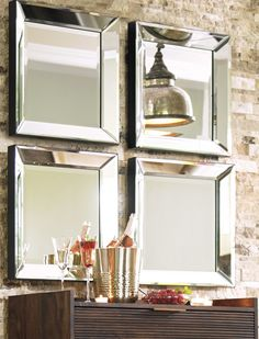 These Beveled Glass Mirrors will create the illusion of space and light in any space. Use them alone or in a group to add depth and intrigue to your most challenging rooms.