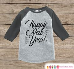 Kids New Year Shirts - Happy New Year - New Years Eve - Boy or Girls Onepiece or Shirt - Infant, Toddler Grey Baseball Tee - Script