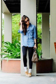 jean shirt, black pants