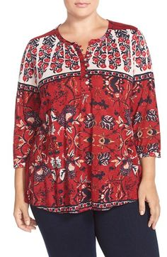 Lucky Brand Floral Scarf Print Top (Plus Size) available at #Nordstrom