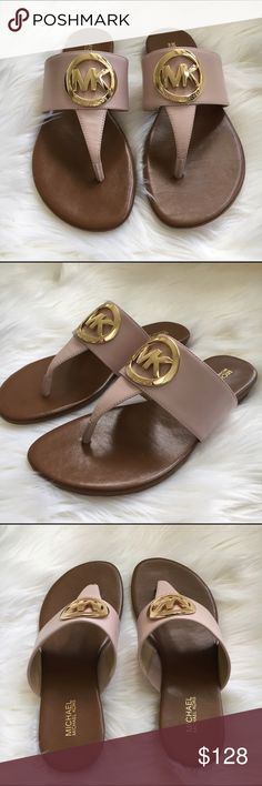 """MICHAEL KORS sandals Leather sandals in """"Ballet"""" with gold tone hardware by Michael Kors.  Purse sold separately. New! Authentic 🚫trades Michael Kors Shoes Sandals"""