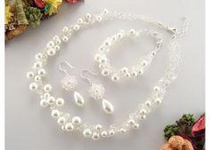 Set perle de Mallorca si cristale Swarovski, crosetat in fir de argint | Magazin online de bijuterii