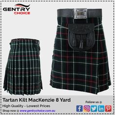 """✔️Tartan Kilt MacKenzie 8 Yard  ✔️Price >> $54.95  ✔️MacKenzie Tartan Kilt is unique in its class of Scottish traditional clothing and popular choice among all age groups to wear in many traditional and memorable events.  Features: ✔️80% Acrylic and 20% wool ✔️12-Oz tartan weight fabrics ✔️8 Yards Tartan Kilt ✔️3 waist straps made of genuine leather and Tartan buckles for size adjustment ✔️Standard 24"""" drop length including 4.5"""" deep pleats  🌐Shop now @ """"Gentry Choice""""   #ScottishKilt… Cheap Kilts, Scottish Costume, Mackenzie Tartan, Scottish Clothing, Tartan Kilt, Traditional Outfits, Skater Skirt, Shop Now, How To Memorize Things"""