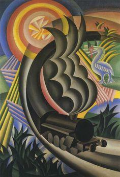 """Futurism - """"Treno partorito dal sole"""" (1924), Fortunato Depero"""