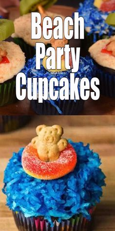 Planning a summer beach party? Try these cute cupcake ideas! Made with teddy grahams, these easy beach themed cupcakes are sure to make kids (and adults) smile.  #party #cupcake #beach #summer #beach