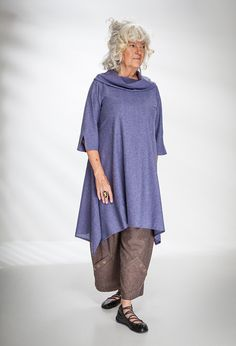 Paris Tunis in £265 (Heather fleck) over Penny Trousers in wool/silk £225 (Cob).