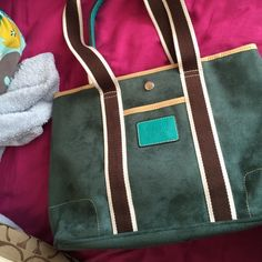 Never used real coach bag! Green/ blue and brown suede bag! Super cute shoulder bag. Great condition ! Coach Bags Shoulder Bags