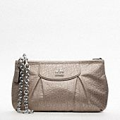 MADISON EMBOSSED METALLIC LEATHER LARGE WRISTLET WITH CHAIN