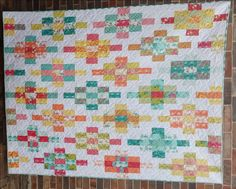 "Granny's Insanity Quilt: 74 x 58: prints: 35 strips 2 1/2"" wide; background: 31 strips 2 1/2"" wide"
