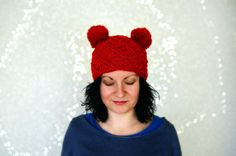 Double pom pom hat Vegan friendly hat Teddy by MAMMBAaccessories