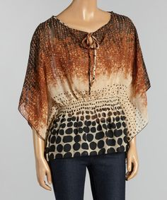 This Brown Fade Abstract Cape Sleeve Top is perfect! #zulilyfinds