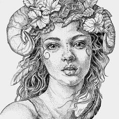 This lovely faun earned 3rd place this last weekend at Art on the Oasis. She was one of my #inktober2019 inspired illustrations. For prints and merch check out my web site www.juliepetersonshea.com and my Vida shop Photo by Julie Peterson Shea Human Face Sketch, Flora Print, Drawing Reference Poses, Ink Illustrations, Buy Prints, Beautiful Tattoos, Wiccan, Her Hair, Wall Art Prints
