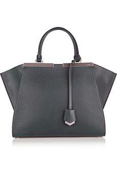 Minimal Accessories // Fendi 2Jours grey mini textured-leather shopper | NET-A-PORTER