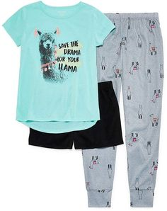 Llama Drama 3pc Pajama Set - Girls #Drama#Llama#Arizona