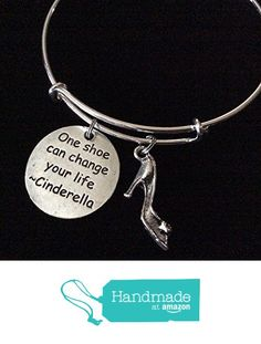 One Shoe Can Change Your Life - Cinderella Quote with 3D Shoe Charm Silver Expandable Bangle Bracelet from Jules Obsession http://www.amazon.com/dp/B01DSIVOI2/ref=hnd_sw_r_pi_dp_jjDaxb0F9VMBC #handmadeatamazon