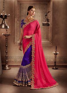 gleaming-patch-border-work-hot-pink-and-purple-designer-half-n-half-saree