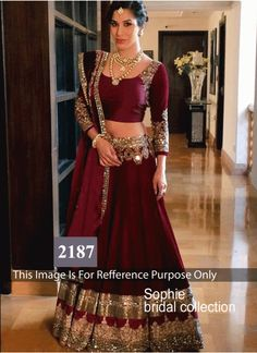Sophie Bridal Dark Maroon Lehenga Choli    Blouse Fabric Velvet Colour Maroon Fabric Velvet Occasion Festival, Casual, Ceremonial Shipping time 7 days Type Bollywood Lehenga Choli Work Multi Work, Mirror Work www.khantil.com