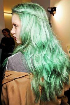 Green pastel runway hair
