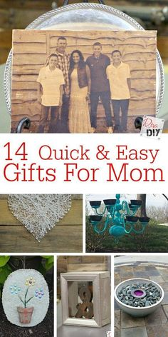 14 perfect DIY gifts for mom. These projects are quick, easy and inexpensive. Remember, it's not about the money you spend.it's the thought that counts! (Diy Gifts For Mom) Easy Homemade Gifts, Diy Gifts For Mom, Diy Mothers Day Gifts, Parent Gifts, Easy Gifts, Teacher Gifts, Thoughtful Gifts For Him, Mother's Day Diy, Best Birthday Gifts