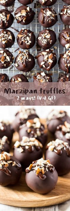 These marzipan truffles are easy to make and come in two varieties, including a refined sugar free one. They're naturally vegan and gluten free too!