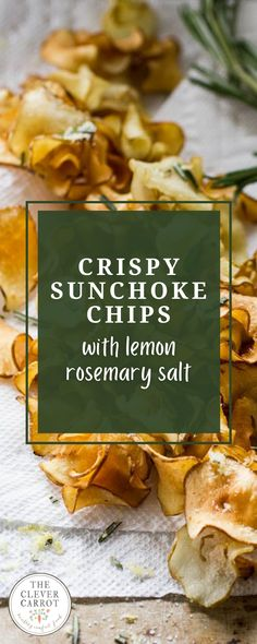 Sunchokes aren't very pretty, but their flavor is unique and worth seeking out. The lemon rosemary salt is the perfect compliment to these crispy chips. They look so beautiful with their curled edges, too! Vegetable Side Dishes, Vegetable Recipes, Best Appetizers, Appetizer Recipes, Crispy Chips, Lemon Salt, Homemade Seasonings, Vegetable Seasoning, Base Foods