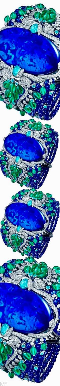 Cartier Étourdissant collection bracelet features a black cabochon opal of 85 carats. Diamonds, emeralds and Paraiba tourmalines frame it Love And Light, Peace And Love, Cosmic Consciousness, Akashic Records, High Jewelry, Jewellery, Third Eye, Blue Green, Dark Blue