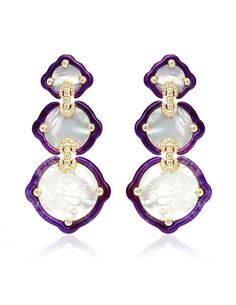 Nicholas Varney Mother Of Pearl, Sugalite And Diamond Gold Earrings