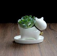 Doggy bonito Mini Cerâmica Pote de Cerâmica Decorativa Artesanato Acessórios Ornamento das Flores e Plantas para o Quarto e Jardim Enfeite(China (Mainland))