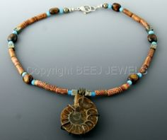 Copper & Nautilus Ammonite Pendant with Pyrite and African Bone and Wood Beads Antique- CURSA