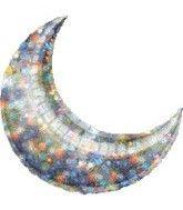"26"" Holo Fireworks Crescent Moon Balloon"