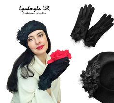 "Couture French Beret Hat & Gloves set #2 ""Winter Glamour Collection"" Luxury Women's Accessories Black Wool Felt beret - https://www.etsy.com/shop/LIRfashionStudio"