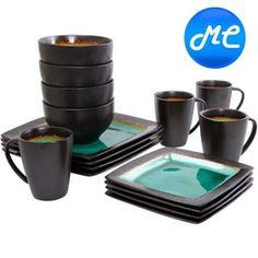 Ocean Brown Blue Turquoise Stoneware 16 Piece Dinnerware Piece Dishes Kitchen
