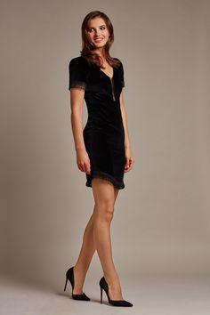 Black velvet dress with fringe