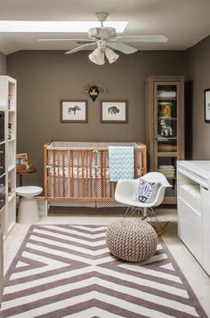 Contemporary and Stylish Nursery Room Design Ideas : Astounding Contemporary Nursery Brown Wooden Crib Also Baby Rocking Chair Grey Wall Small Cabinet With Dolls And Toys Fan On The Ceiling Grey And White Carpet With Round Cushions Baby Boy Rooms, Baby Boy Nurseries, Kid Rooms, Deco Kids, Nursery Neutral, Neutral Nurseries, Brown Nursery, White Nursery, Baby Bedroom Ideas Neutral