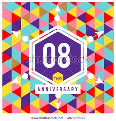 8th years greeting card anniversary with colorful number and frame. logo and icon with Memphis style cover and design template