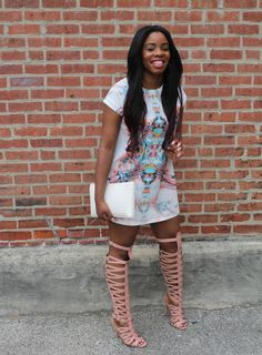 Black girls killing it: photo thigh high sandals, gladiator sandals outfit, high heel Cute Summer Outfits, Summer Wear, Outfits For Teens, Cute Outfits, School Outfits, Summer Heels, Summer Chic, Casual Summer, Girl Outfits