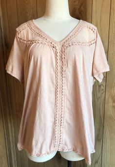 94463aee531aea Chelsea and Theodore Short Sleeve Top Plus 2X Blush Pink Lace Knit