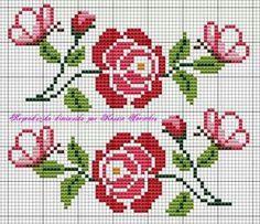 gráfico-para-toalha-com-rosas-10 Gráficos de rosas para bordar em toalhas
