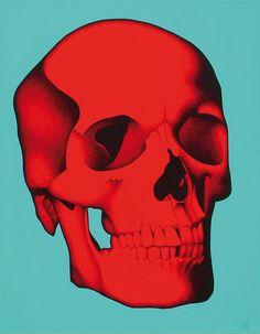 Julien Martello (né en 1973), Skull rouge sur fond turquoise. Photo Cannes Enchères.