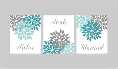 Aqua Gray Bathroom Wall Art Bathroom Prints Flower Bathroom Pictures Relax Soak Unwind Bathroom Decor Set of 3 Bath Quotes Wall Decor Relax Soak Unwind, Neutral Bathroom Decor, Floral Bathroom, Bathroom Wall Art, Grey Bathrooms, Gray Bathroom Walls, Bathroom Canvas Art, Bathroom Wall, Bathroom Art Printables